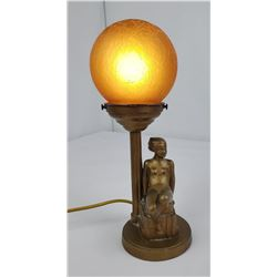 Frankart Art Deco Reclining Nude Ball Lamp