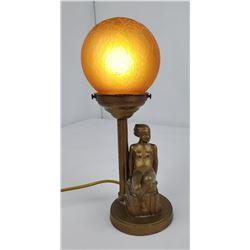 Frankart Art Deco Reclining Nude Ball Lamp