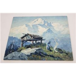 Oil on Board Swiss Alps or South America 1940