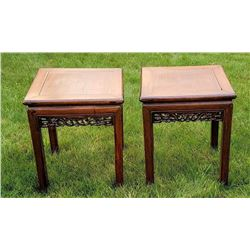 Antique Chinese Hongmu Low Table Pair Signed