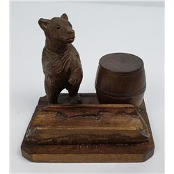 German Black Forest Bear Pipe Stand Match Box