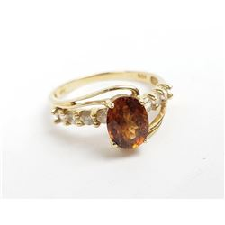 10k Yellow Gold Citrine and Diamond Ladies Ring