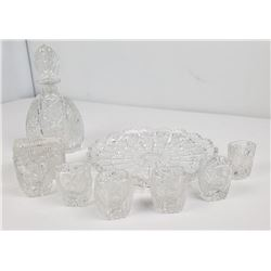 Antique Cut Glass Whiskey Decanter Set