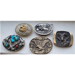 Lot of Cowboy and Western Belt Buckles Turquoise