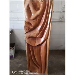 """WOODEN DRAPES"" A HAND CARVED RED CEDAR ART PIECE"