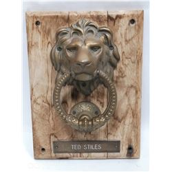 "BRASS LION HEAD DOOR KNOCKER ""TED STILES"" PRESERVE"
