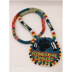 HAND BEADED FLYING STONE SINGERS NATIVE NECKLACE