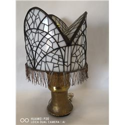 POPE'S HAT STAIN GLASS LAMP SHADE WITH SOLID
