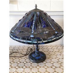 "TIFFANY STYLE DRAGONFLY LAMP AND BASE 22"" TALL"