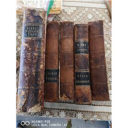 LOT OF 5 ANTIQUE 1865 BOOKS.