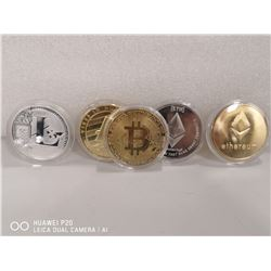 LOT OF 5 COLLECTIBLE CRYPTOCURRENCY TOKENS INCL.