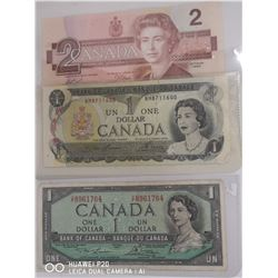 1954 CANADIAN 1 DOLLAR NOTE, 1973 CANADIAN 1