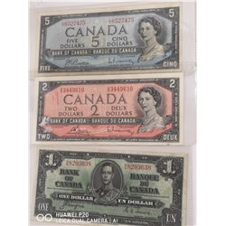 1937 CANADIAN 1 DOLLAR NOTE, 1954 CANADIAN 2