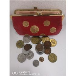 VINTAGE CHANGE PURSE WITH VARIOUS TOKENS AND COINS
