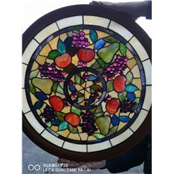 VINTAGE STAIN GLASS ART PIECE APPROX. 2FT X 2FT