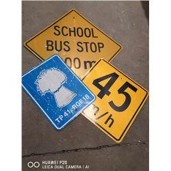 "LOT OF 3 VINTAGE ROAD SIGNS. BUS, 30"" X 30"", RGE"