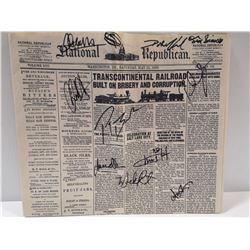 NEWSPAPER SIGNED BY HELL ON WHEELS CAST MEMBERS