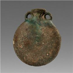 Ancient Roman Egypt Glazed clay pilgrim Flask c.4th century AD.