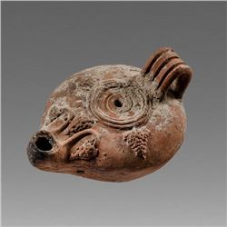 Oversized Ancient Terracotta Oil Lamp with Grape Clusters c.2nd cent AD.