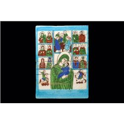 Romanian Glazed Ceramic Tile Icon Virgin, Christ, Saints Ca. 20th century.