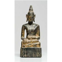 Burmese carved wood Buddha seated on an integral raised block base.