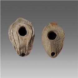 Ancient Samartian Terracotta Menorah Oil Lamp c.5th century AD.(2)