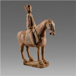 Tang Dynasty Mounted Equestrienne and Horse c.7th century AD.