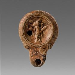 Ancient Roman Terracotta Oil Lamp with Satyr c.3rd century AD.