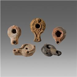 Lot of 5 Ancient Herodian and Hellenistic Terracotta Oil Lamps c.1st century BC.