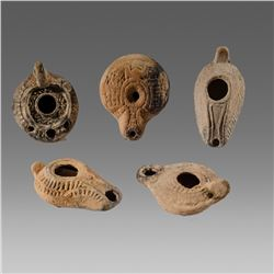 Lot of 5 Ancient Holy Land, Egypt Terracotta Oil Lamps c.1st-2nd century AD.