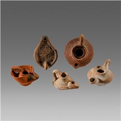 Ancient Roman, Holy Land Menorah Terracotta Oil Lamp (5) c.1st-2nd century AD.
