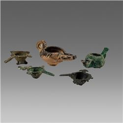 Lot of 5 Ancient Islamic Bronze Oil Lamps c.112th-14th century AD.