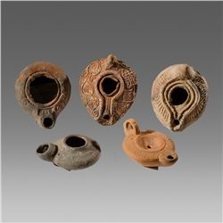 Lot of 5 Ancient Roman, Byzantine Terracotta Oil Lamps c.1st-4th century AD.