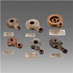 Lot of 6 Ancient Hellenistic Terracotta Oil Lamps c.1st century BC.