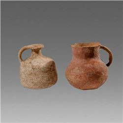 Lot of 2 Ancient Holy Land Iron Age Terracotta Juglets c.1200 BC.