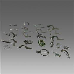 Collection of 24 Ancient Roman Bronze Fibulas c.100-300 AD.