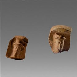 Lot of 2 Ancient Mesopotamian Terracotta Idol Heads c.1st Millenium BC.