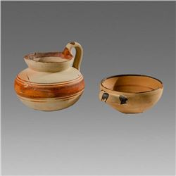 Lot of 2 Daunian Ware Pottery Vessels c.350 BC.