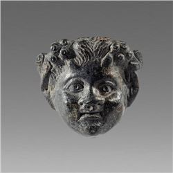 Ancient Greek Thrace Bronze head of Satyr c.3rd cent BC.