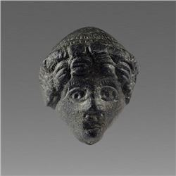 Ancient Roman Bronze Head of Youth Applique c.2nd cent AD.