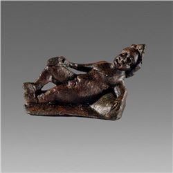 Ancient Roman Bronze Reclining Athlete figure c.2nd cent AD.