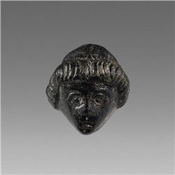 Ancient Roman Bronze Applique with Youth head c.2nd-3rd cent AD.