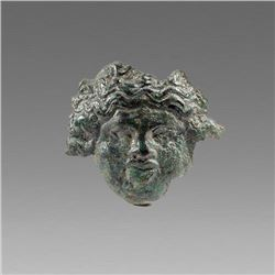 Ancient Roman Bronze Applique with Medusa c.2nd cent AD.