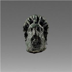 Ancient Roman Bronze Head of Herakles c.2nd cent AD.