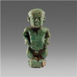 Ancient Egyptian Faience Dward Pataikos Amulet c.664-525 BC.
