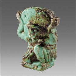 Ancient Egyptian Faience Sky-god Shu Amulet c.664-300 BC.