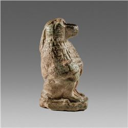 Ancient Egyptian Faience Baboon Statuette c.664-343 BC.