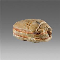 Ancient Egyptian Serpentine stone Scarab c.1650-1550 BC.