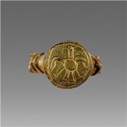 Ancient Ostrogothic Gold Plated Silver Ring c.7th cent AD.