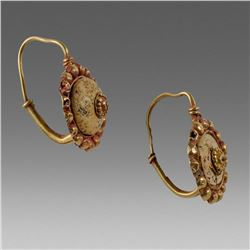 Ancient Roman Gold Earrings c.3rd cent AD.